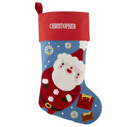 Christmas Stockings: Personalized Santa Stocking - Santa Holiday Cheer Stocking
