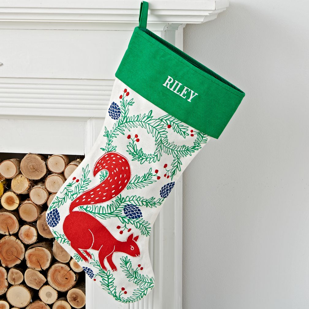 Festive Folklore Peronalized Squirrel Stocking