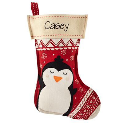 Holly Jolly Personalized Stocking (Penguin)