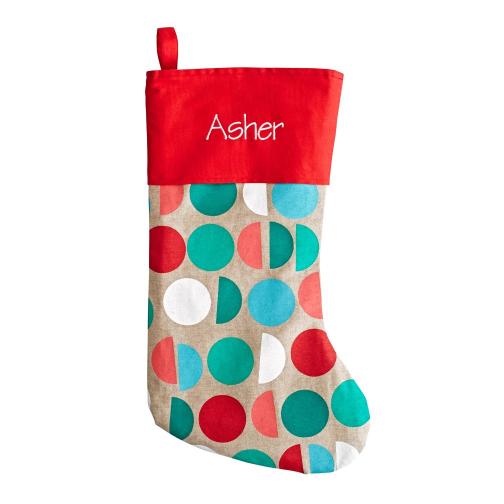 Personalized Merry Mod Stocking (Circles)