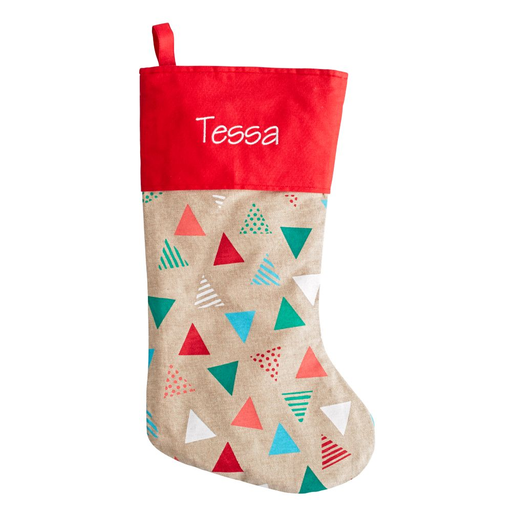 Personalized Merry Mod Stocking (Triangles)
