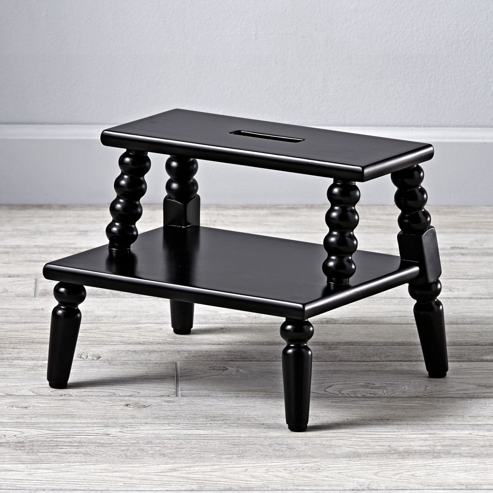 Jenny Lind Black Double Step Stool