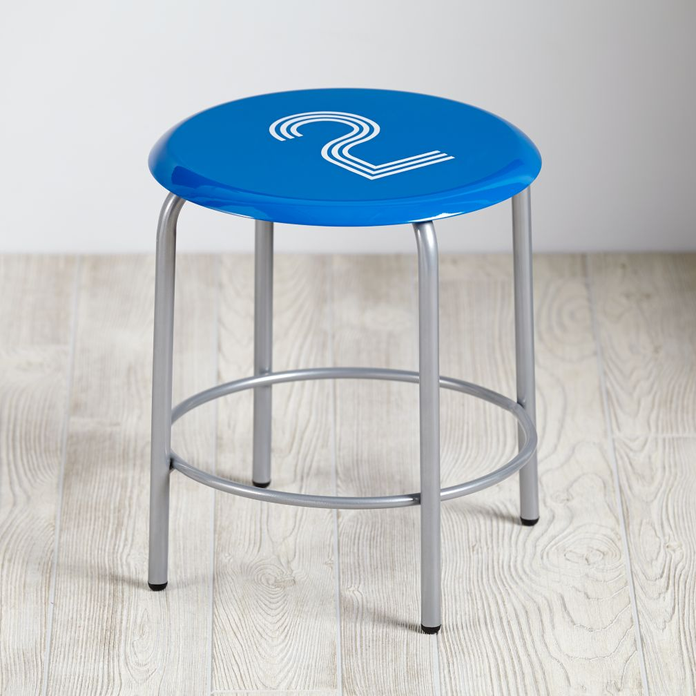Numeral Metal Stool (Blue)