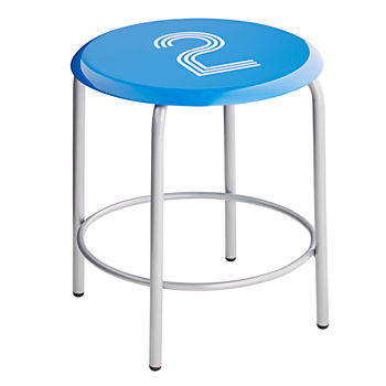 #2 Numeral Metal Stool (Blue)