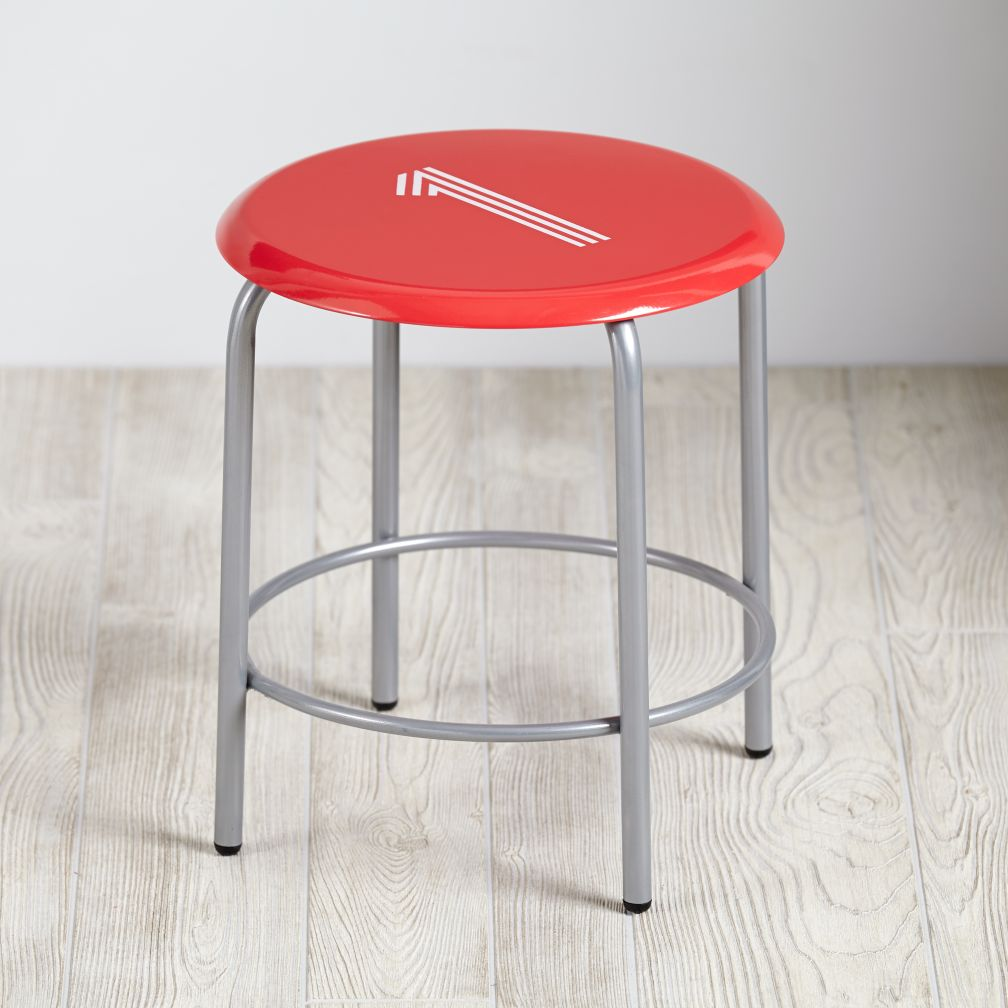 Numeral Metal Stool (Red)