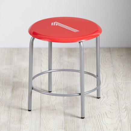 Red #1 Numeral Metal Stool