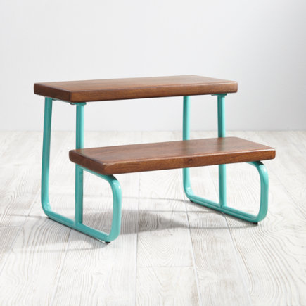 (Aqua) On the Double Step Stool - Aqua On the Double Step Stool