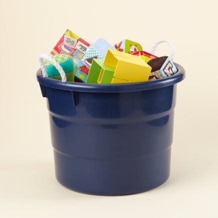 Kids Storage: Kids Outdoor 10 Gallon Blue Tub Container - Small Blue Tub