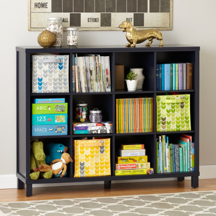 Twelve Cube Wide Bookcase (Navy) - Midnight Blue 12-Compartment Cubic Bookcase