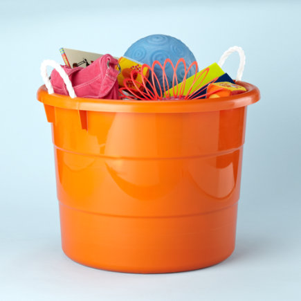 Kids Storage: Kids Outdoor 18 Gallon Orange Tub Container - Large Orange Tub