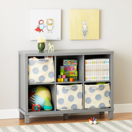 Six Cube Wide Bookcase (Grey) - Grey 6 Compartment Cubic Bookcase