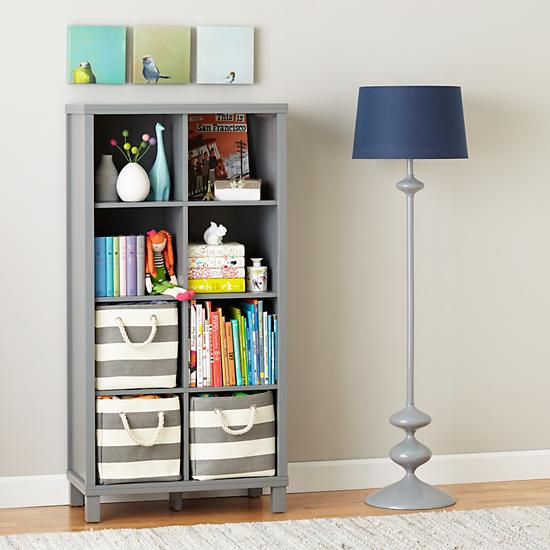 eight cube tall bookcase grey the land of nod. Black Bedroom Furniture Sets. Home Design Ideas