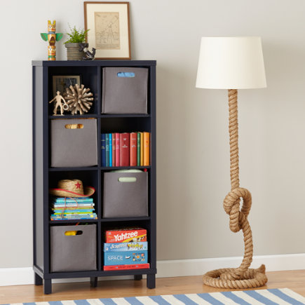 Eight Cube Tall Bookcase (Navy) - Midnight Blue 8-Compartment Cubic Bookcase
