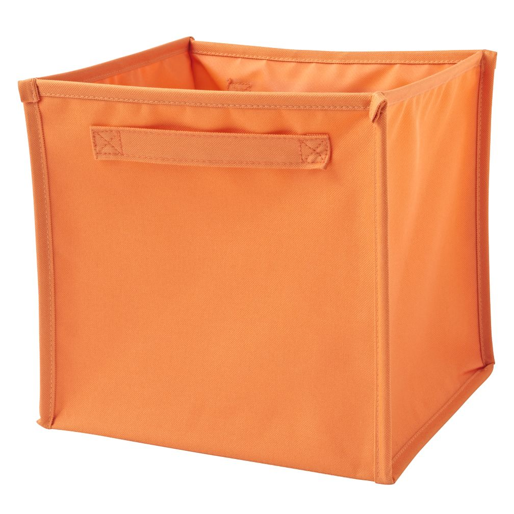 I Think I Canvas Bright Orange Cube Bin