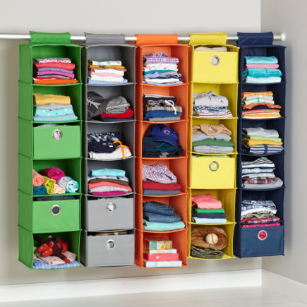 Kids Storage Containers: Kids Colorful Canvas Hanging Closet Drawers - 10 x 6 Red Wide I Think I Canvas Drawer