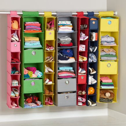 Kids Storage Containers: Kids Colorful Canvas Hanging Closet Storage   Red  Wide Hanging Organizer