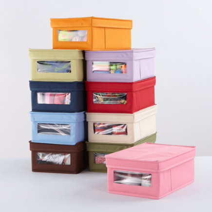 Kids Storage: Colorful Canvas Shoe Storage Box - Blue Canvas Shoe Storage Box