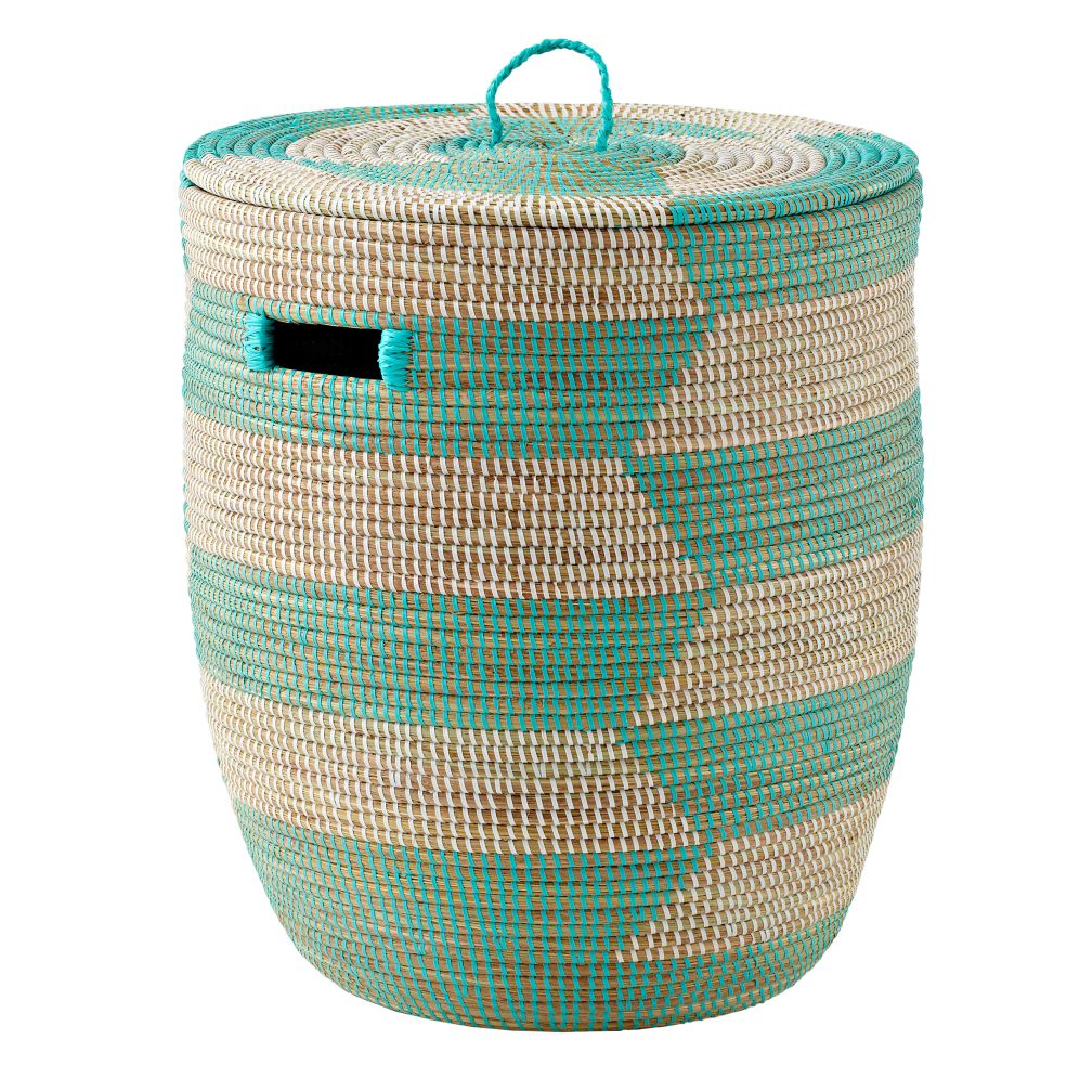 Charming Hamper (Aqua Herringbone)