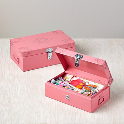 Doily Storage Boxes (Pink, Set of 2)