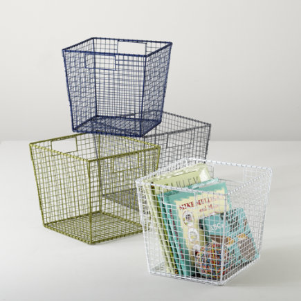 Kids Storage: Wire Storage Cube Bins - Blue Down to the Wire Cube Bin