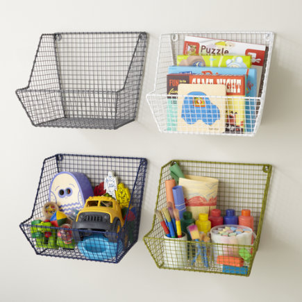 Kids Storage: Wire Wall Storage Bins - Blue Down to the Wire Wall Bin