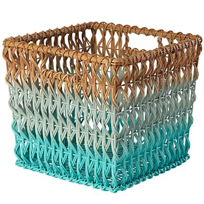 Fade Up Rattan Cube Basket (Aqua)