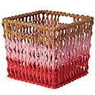 Pink Fade Up Rattan Cube Basket