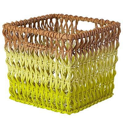 Fade Up Rattan Cube Basket (Yellow)