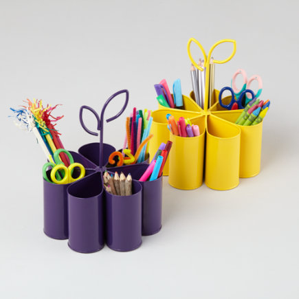Budding Artist Desk Organizer - Purple Flower Art Caddy