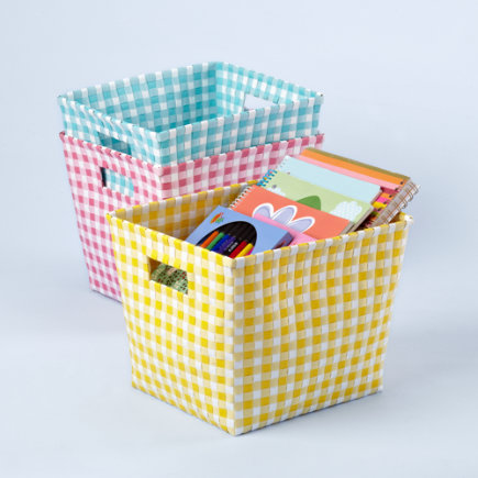 Kids Storage Containers: Kids Gingham Weave Cube Bins - Aqua Gingham Cube Bin