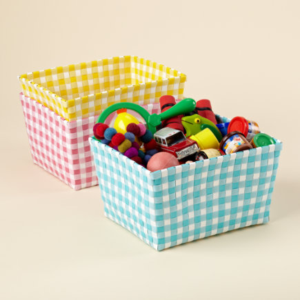 Kids Storage Containers: Kids Gingham Weave Shelf Bins - Aqua Gingham Shelf Bin