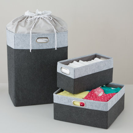 Grayscale Felt Storage Collection - Greyscale Small Changing Table Basket