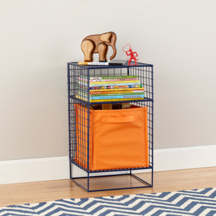 On the Grid Modern Steel Wire Nightstand (Navy) - Navy 2-Cube On the Grid Nightstand