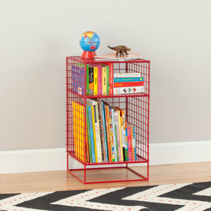 On the Grid Modern Steel Wire Nightstand (Red) - Red  2-Cube On the Grid Nightstand