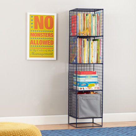 On the Grid Modern Steel Wire Bookcase (Navy) - Navy 4-Cube On the Grid Bookcase