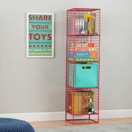 On the Grid Modern Steel Wire Bookcase (Red) - Red 4-Cube On the Grid Bookcase