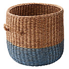Blue Rattan Floor Basket