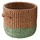 Green Rattan Floor Basket