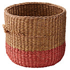 Red Rattan Floor Basket