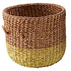 Yellow Rattan Floor Basket