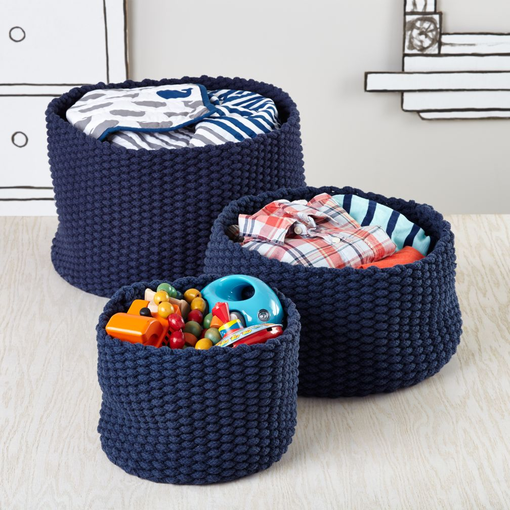 Kneatly Knit Storage Bins (Dark Blue)