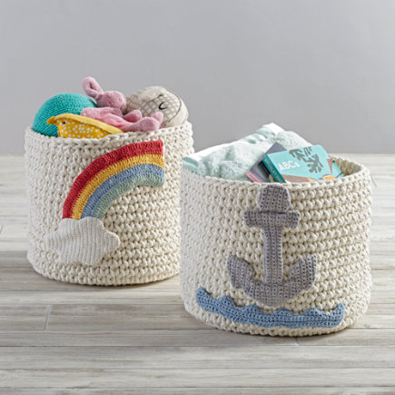 Rainbow Knit Nursery Bins