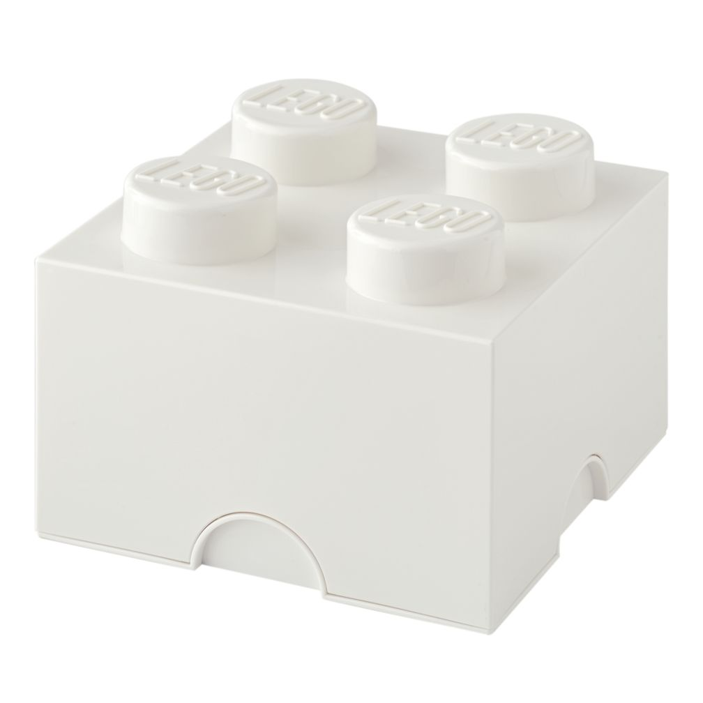 White Lego Storage Brick 4