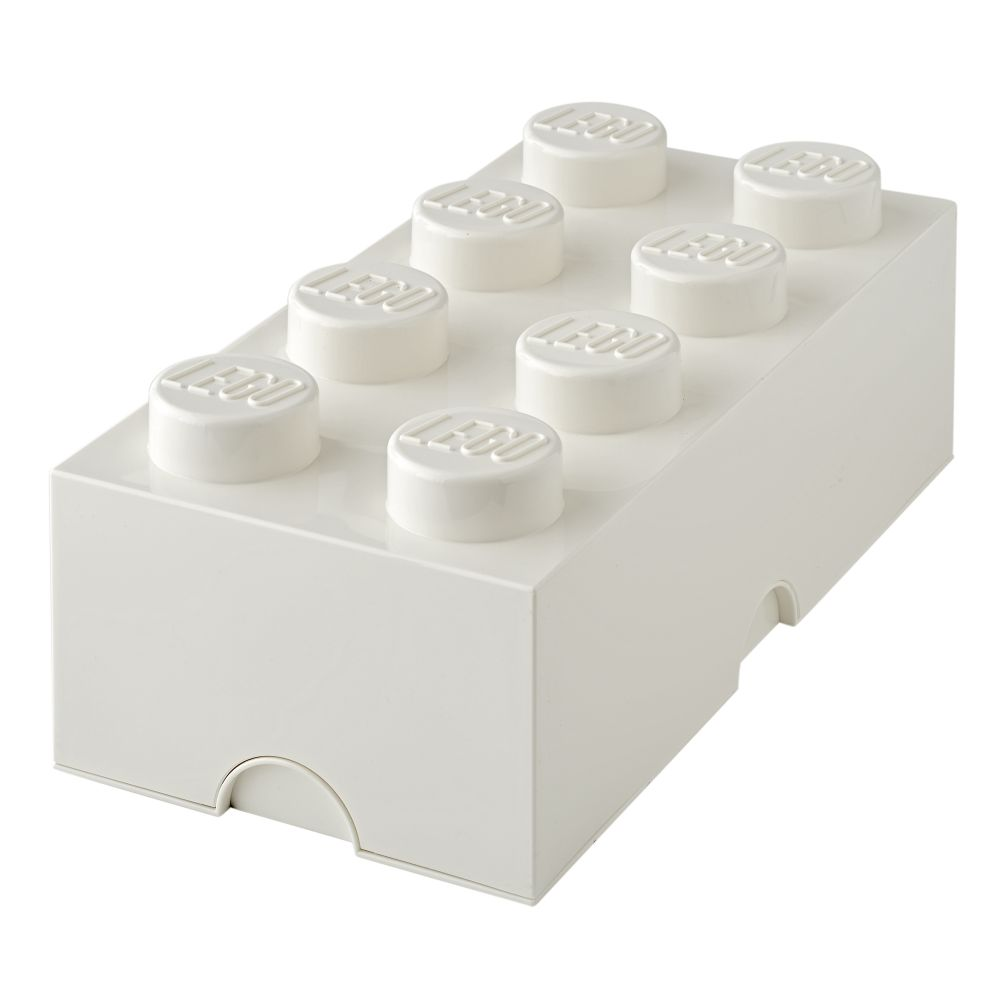 White Lego Storage Brick 8
