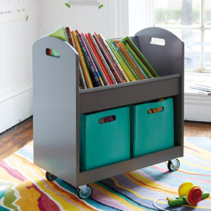 Grey Rolling Book Cart