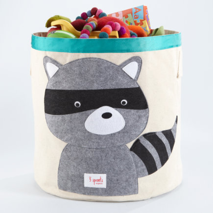 Kids Storage Bin: Kids Collapsable Raccoon Storage Bin - Raccoon Organic Storage Bin
