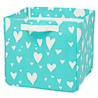 Aqua Love Struck Heart Cube Bin