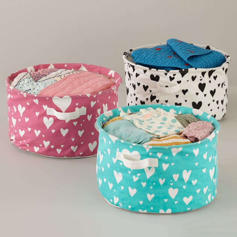 Heart Print Cotton Floor Bin