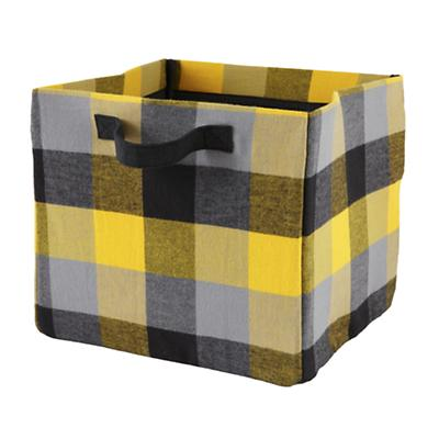 Buffalo Check Cube Bin (Yellow)