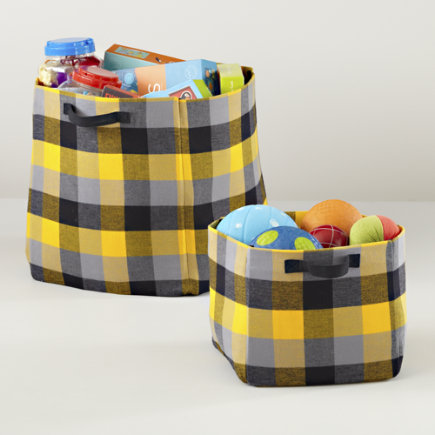 Kids Storage: Yellow and Grey Buffalo Check Bins - Yellow Buffalo Check Cube Bin